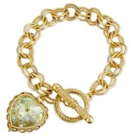 2028 Swarovski Crystal Aurora Borealis Heart Charm Toggle Bracelet