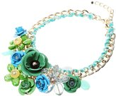 MagiDeal Lady Hot Jewelry Banquet Big Chain Flower Crystal Pendant Statement Necklace