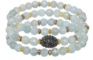 Rachel Reinhardt 14K Plated Aquamarine & Cz Set Of 3 Stretch Bracelets
