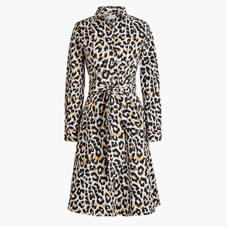 J.Crew Leopard tie-waist shirtdress in cotton poplin