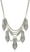 """Yochi Silver-Plated Clear Crystal Overlay Shape Necklace, 18"""""""