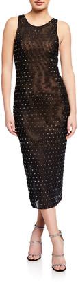 Misha Collection Clarice Jeweled Sleeveless Midi Dress
