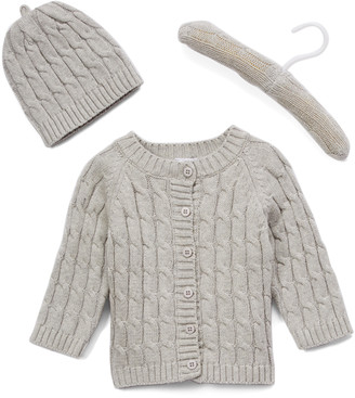 Baby Mode Signature Cardigans GREY - Gray Cable-Knit Cardigan & Beanie - Newborn & Infant