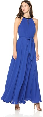 Calvin Klein Women's Chiffon Halter Neck Keyhole Gown with Sash