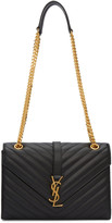 Saint Laurent Black Medium Envelope Monogram Bag