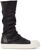 Rick Owens Monochrome Leather Trainer Boots