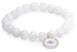 Sydney Evan 14K Rose Gold, Rainbow Moonstone & Mixed-Stone Evil Eye Charm Beaded Bracelet