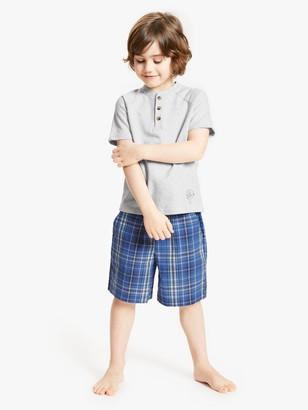 John Lewis & Partners Boys' Check Short Pyjamas, Blue/Grey