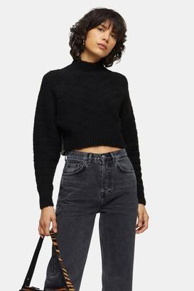 Topshop Black Chevron Super Crop Knitted Sweater