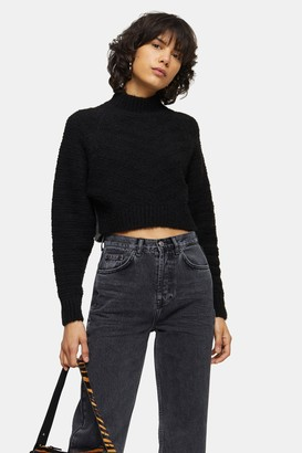 Topshop Womens Black Chevron Super Crop Knitted Jumper - Black