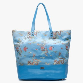 Australia Luxe Collective Brooklyn Blue Satin Embroidered Tote Bag