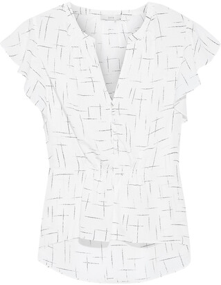 Joie Crisbell Ruffled Printed Crepe De Chine Blouse