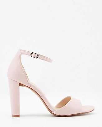 Le Château Faux Leather Block Heel Ankle Strap Sandal
