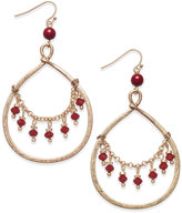 INC International Concepts Gold-Tone Draped Red Bead Gypsy Hoop Earrings, Only at Macy's