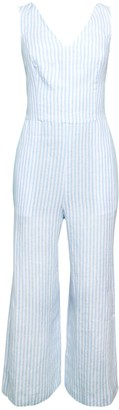 Saks Fifth Avenue Stripe Tie V-Neck Linen Jumpsuit