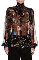 Dolce & Gabbana Rocket Ship Floral-Print Chiffon Blouse, Black