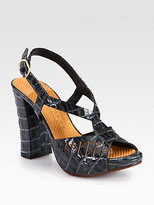 Chie Mihara Citron Crocodile-Print Leather Sandals