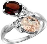 Gabriella Gold 10K White Gold Diamond Natural Garnet & Morganite 2-stone Ring Oval 8x6mm, size 5