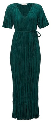 Mes Demoiselles Twinkie Crinkled Silk-satin Maxi Dress - Green