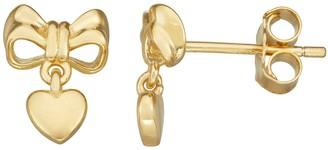 Junior Jewels Kids' 14k Gold Over Silver Bow & Heart Dangle Earrings