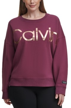 Calvin Klein Plus Size Logo Drop-Shoulder Top