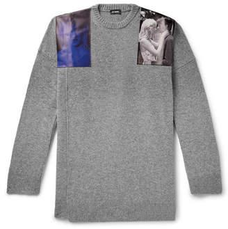 Oversized Embellished Melange Virgin Wool Sweater