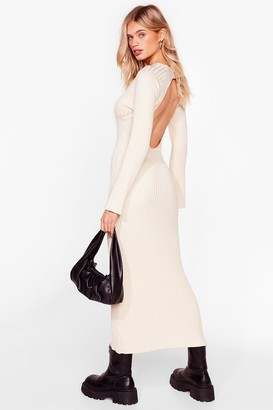 Nasty Gal Womens Keeping Our Options Open Ribbed Maxi Dress - Ivory