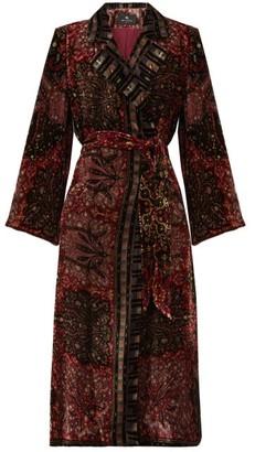 Etro Dole Double-breasted Floral-velvet Coat - Burgundy