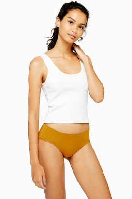 Topshop Womens Mustard Lace Trim Microfibre Hipster Knickers - Mustard