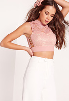 Missguided High Neck Lace Lattice Side Crop Top Pink