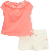 Lucky Brand Shell Pink Eva Embroidered-Accent Top & Shorts - Infant