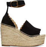 Chloé Black Suede Lauren Espadrille Wedge Sandals