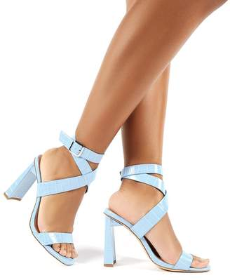 Public Desire Lydia Blue Croc Wrap Around Heels