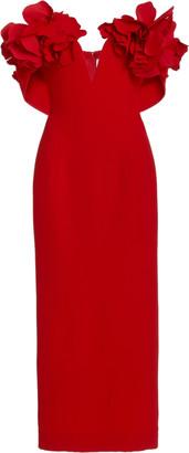 Oscar de la Renta Flower-Embellished Cady Cocktail Dress