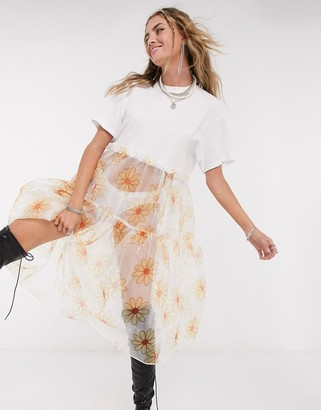 Vintage Supply oversized midi smock t-shirt dress with daisy organza skirt