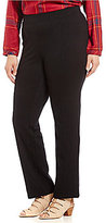Intro Plus Slim-Her Solid Seam Front Pull-On Straight Leg Pants
