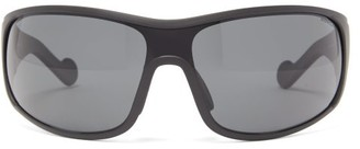 Moncler Logo-stripe Acetate Cycle Sunglasses - Black