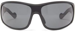 Moncler Logo-stripe Acetate Cycle Sunglasses - Mens - Black