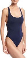Ale By Alessandra Anja High-Leg Strappy-Back One-Piece Swimsuit, Blue