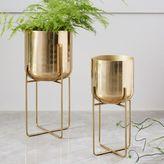 west elm Spun Metal Standing Planter - Brass