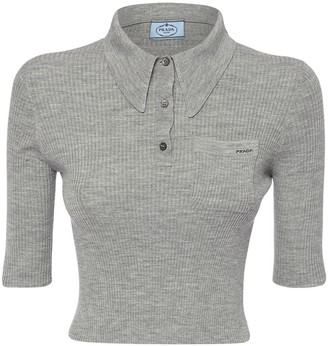 Prada Cropped Wool & Silk Rib Knit Polo Shirt