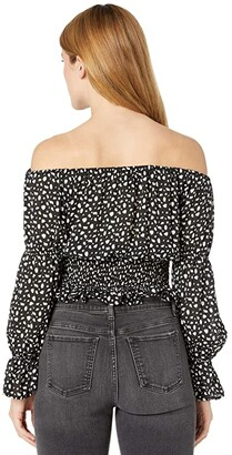 Rock and Roll Cowgirl Virago Sleeve Off Shoulder Blouse with Smocked Waist B4C8440