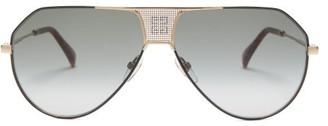 Givenchy Logo-grid Aviator Metal Sunglasses - Womens - Black Multi
