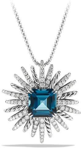 David Yurman Starburst Hampton Blue Topaz Pendant Necklace