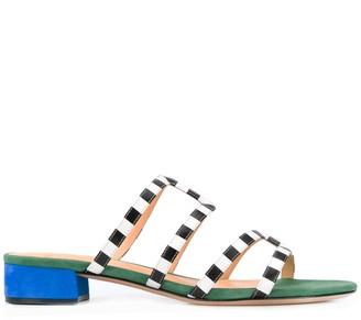 Alexandre Birman Open Toe Checked Pattern Sandals