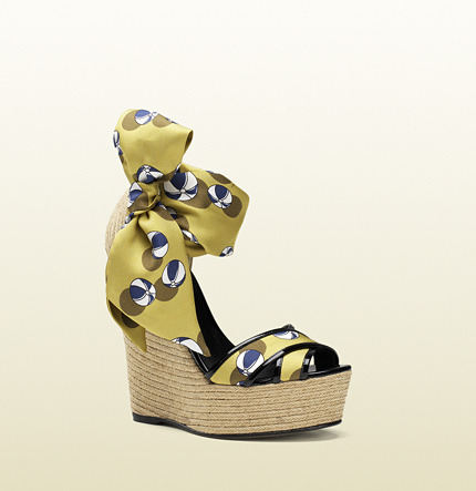 Gucci Carolina Beach Ball Satin Tie Wedge Sandal