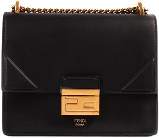 Fendi Black Leather Kan U Chain Shoulder Bag