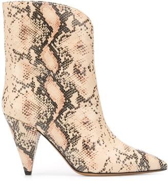 Isabel Marant Snakeskin-Effect Cone-Heel Boots