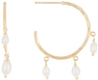 Argentovivo Pearl Dangle Small Hoop Earrings