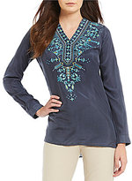 Sigrid Olsen Signature Washed Silk Embroidered Blouse